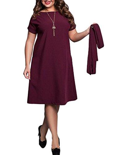 SHUNLIU Neue Stil Frauen Sommerkleid Für Kräftige Frauen Einfarbig Große Größe Sommerkeid Mollige Damen CasualKleid Partykleid Festkleid Gr.L-6XL Rot