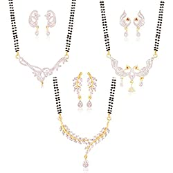 I Jewels Gold & Rhodium Plated Combo of 3 American Diamond Mangalsutra Sets for Women D049