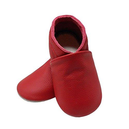 YangBaby Weicher Leder Lauflernschuhe Krabbelschuhe Babyschuhe Babyhausschuhe Rot Rot