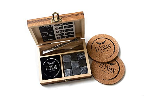 Whisky Stones Geschenkset mit 9 natürlichen Speckstein und Granit, kühlt Ihr Lieblingsgetränk ohne Verdünnung - Geschenk für Männer, Frauen, Väter, Trauzeuggeschenk, besondere Anlässe.