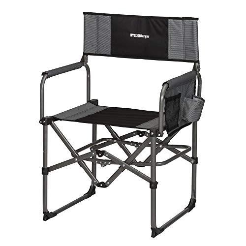 Berger Regiestuhl Stahl Minimize, grau/schwarz, Belastbar bis 120 kg, nur 4,8kg schwer, Campinghocker, Angler