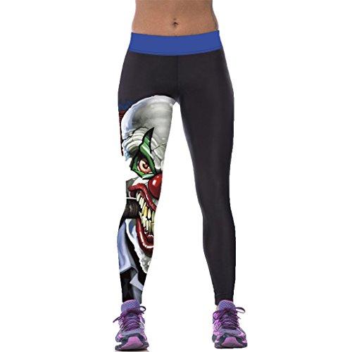 Spuk Hässlichen Clown Skelett Enge Leggins Frauen Übung Sport Strumpfhose (Passt Hässlich)