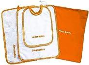 Crociedelizie, Set asilo scuola materna 4 pezzi tovaglietta bavaglino sacca asciugamano salvietta ricamo nome