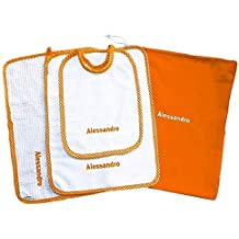 Crociedelizie, Set asilo scuola materna 4 pezzi tovaglietta bavaglino sacca asciugamano salvietta ricamo nome bimbo personalizzato