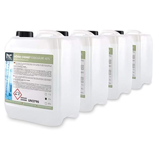 Höfer Chemie 4 x 5 L Essigsäure 60% frisch abgefüllt in praktischen 5 L Kanistern