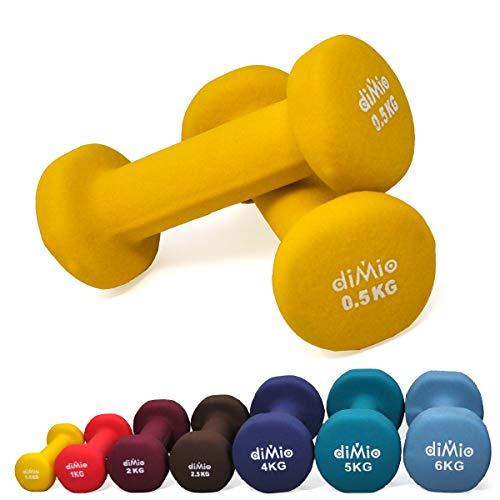 diMio 0,5 kg Neopren Gymnastik Hanteln im Doppelpack, Soft-Grip, für Fitness, Ausdauertraining und Muskelaufbau