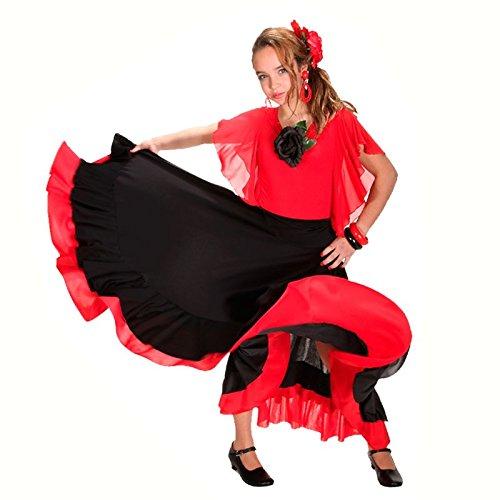Falda Baile Flamenco Infantil Volante Rojo 6 años