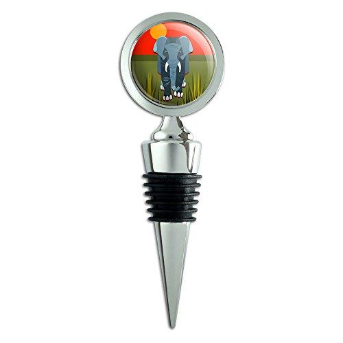 Geometrische African Elefant grau Wein Flasche Stopper (Elefanten-wein-flaschen-stopper)