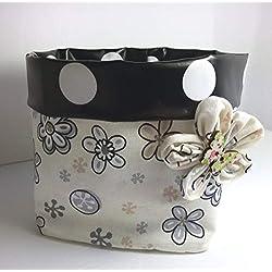 Stoffkorb Utensilo Aufbewahrung Korb Geschenkkorb Blumen beige Handarbeit