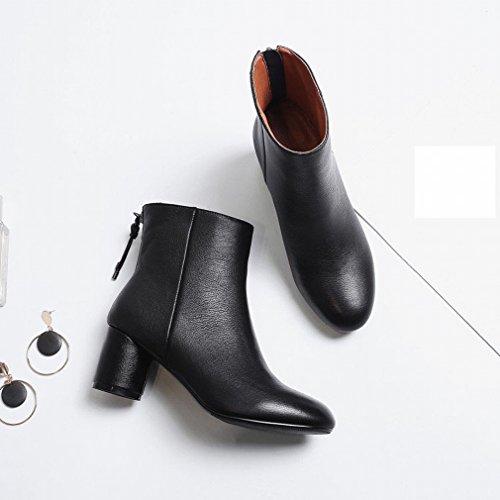 Ani Automne Et Hiver Européenne Et Américaine Martin Bottes Femmes Confortable Chaussures À Talons Hauts Sauvage Zipper Hauts Talons Noir
