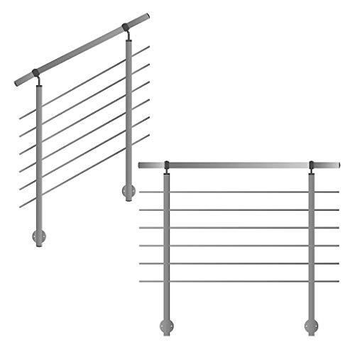 Barandilla para laterales montaje en escalera Balcón y terraza con horizontal Travesaños hasta 6m am unidades)