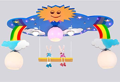 Regenbogen Sonne Cartoon Muster Kinderzimmer Deckenleuchte, LED 3 Lichter Glas Lampenschirm MDF E27 Schraube Junge Mädchen Schlafzimmer Lampe Leuchte-blue -