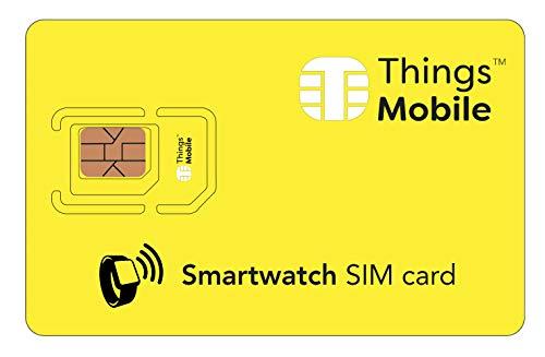SIM Card per SMARTWATCH - Things Mobile - con copertura globale e rete multi-operatore GSM/2G/3G/4G LTE, senza costi fissi, senza scadenza e tariffe competitive con 10 € di credito incluso