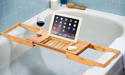 Bambusholz, Luxus-Badewannen-Caddy, Tablett–Badewanne iPad, Buch, Weinglashalter