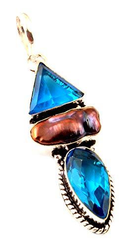 Indie gestaltet Natural Biwa Perle und simulierten Tansanit Quarz Anhänger 925Silber Plattiert Halsketten Fashion Jewelry Moderner Stil Frauen Zubehör