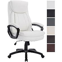 CLP Bürostuhl XL PLATON mit Kunstlederbezug,Gaming Chefsessel mit Wippmechanismus, stufenlose Sitzhöhenverstellung, Bürosessel, Relaxsessel, Computerstuhl, Drehstuhl, Belastbarkeit 180 kg, Weiß