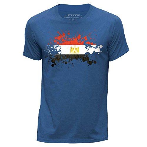 STUFF4 Herren/XX groß (XXL)/Königsblau/Rundhals T-Shirt/Ägypten/Ägyptisch Flagge Splat (Land-flaggen-t-shirt)