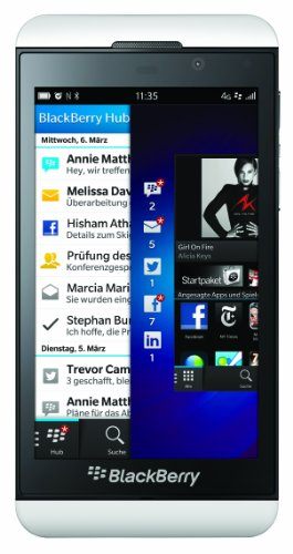 BlackBerry Z10 Smartphone (4,2 Zoll Display, Touchscreen, 8 Megapixel Kamera, 16 GB erweiterbarer Speicher, 4G LTE) weiss