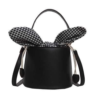 LUXIAOYU Bucket Bag Female Neue koreanische Version der einfachen vielseitigen Umhängetasche Kurier Tasche,Black -