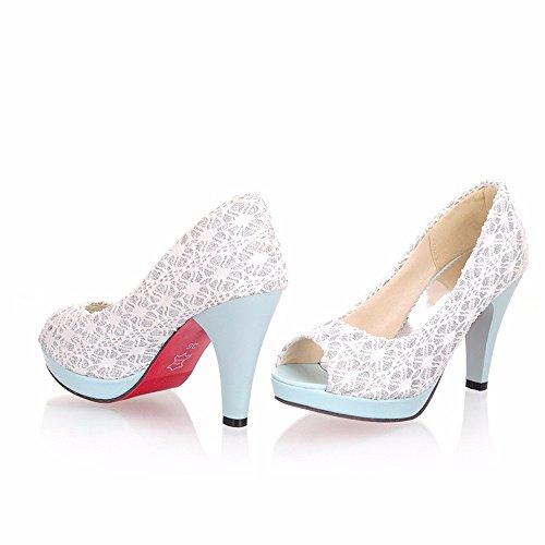 Hautes chaussures de talon, des chaussures de talon, le poisson bouche dentelle, women's sandals White