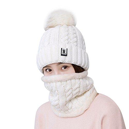 TININNA 2 Stück Strickmütze Hut und Schal Winter warme Mütze mit Pom Pom und Kreis Crew Halstuch mit Fleece Futter für Frauen (Crew Beanie)
