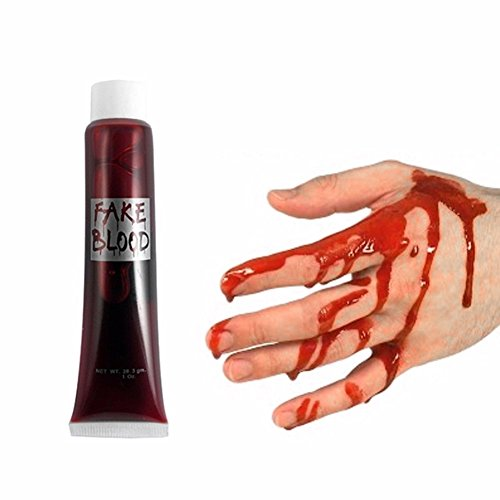 KJH21 Fake Blood Halloween Red Vampir Zombie Make up Kostüm Gory Wund Horror