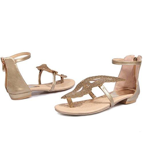 TAOFFEN Damen Beilaufig Flip-Flops Butterfly Thongs Rei?verschluss Flach Sandalen Gold