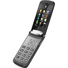 Binatone Blade Flip Phone - Teléfono móvil Dual Sim (Bluetooth, Cámara, USB, Radio FM, sin dispositivo de seguridad, teléfono móvil en diseño retro) color negro, tapa negra