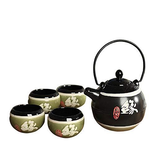 Panbado–Japonés té (Gres, incluye 1Tetera 700ml con 4tazas de té (150ml, regalo para Navidad