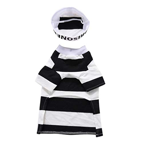 rycnet Funny Gefängnis Gestreift Halloween Party Pet Hund Kostüm Kleidung Cosplay Hat