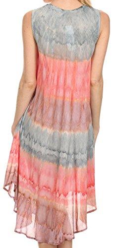Sakkas Wüstensonne Kaftan Kleid oder Vertuschung für Damen Grau / Coral