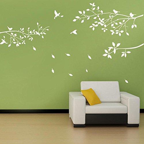 BDECOLL Decalcomanie a muro di albero con uccelli Stickers murali Vinile Sticker Nursery Soggiorno Bastoni da parete (Bianco)