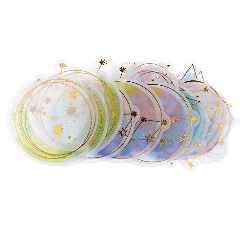 Homyl 60 Stück Moderne Fliesenaufkleber, Deko Fliesenfolie Fliesensticker mit Gold Heißprägung Für Bad/Küche - 2#, 3-11cm
