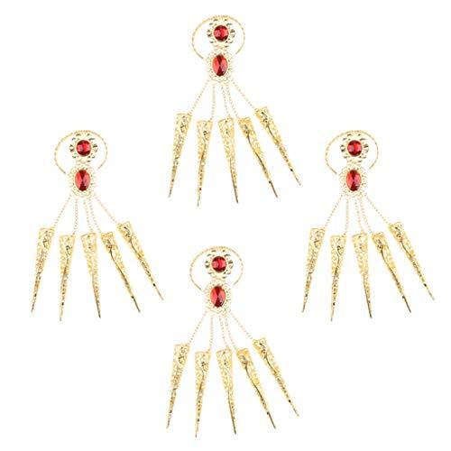 F fityle 2 paia unghie lunghe con bracciale oro accessorio moda per danza ventre danza tailandese
