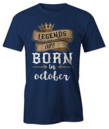 Legends Are Born In October Geburtstag Geschenk T-Shirt Herren Marineblau (Uk Girl Costume School)
