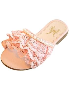 Zapatillas ❤️️Zapatos de Bebe Chicas Niñas Playa Princesa Zapatos Perlas Casual Encaje Verano Sandalias Patrón...
