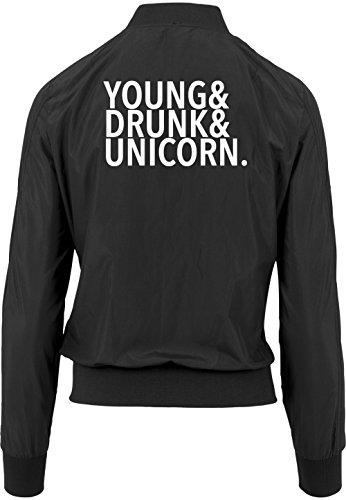 Young Drunk Unicorn Bomberjacke Girls Black Certified Freak-L