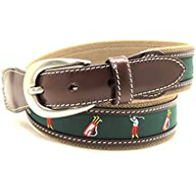 VAELLO Cinturón de lona con motivos de jugadores de golf combinado con piel en 34mm, para hombre