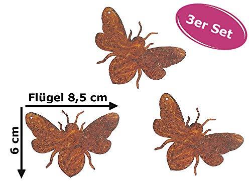 Dekofigur Mini Biene im Rost Design 3er Set, Rostfigur für den Garten, Gartendeko, Metalldeko