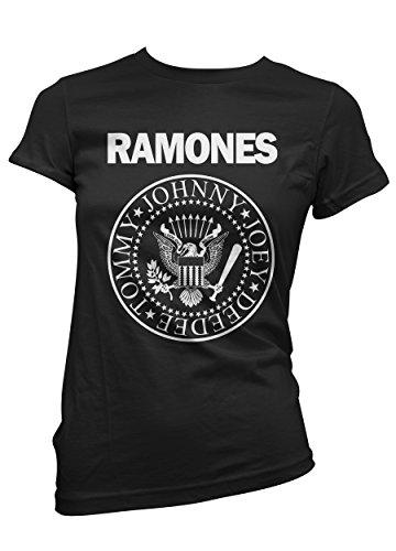 T-shirt Donna Ramones - maglietta 100% cotone LaMAGLIERIA, S, Nero