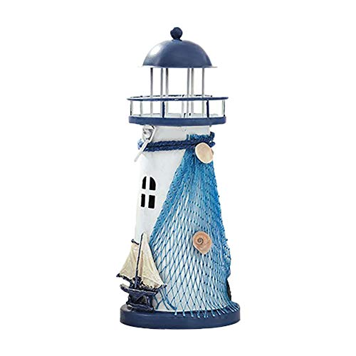 Ruikey Kerzenhalter Eisen Tealight Candle Holder Leuchtturm Form LED dekorative Kerze Laterne Kerzenhalter nautischen maritimen Familie und Gartendekoration Size 18.5 * 7.5cm (Laterne Dekorative Kerzenhalter)