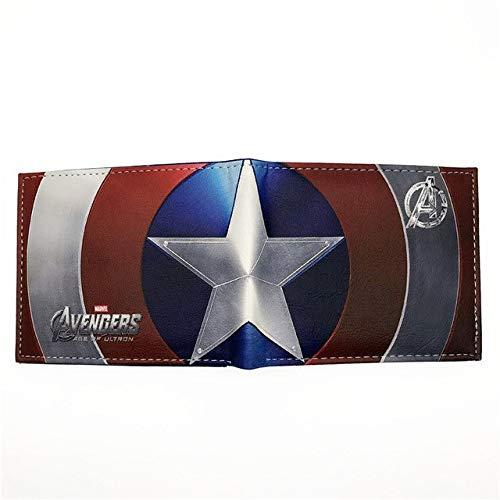 me Heroes Iron Man Captain America Schild Spider Man Ameise Punisher Venom Kurze Geldbörsen mit Kartenhalter Captain America 001 ()