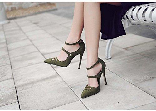 NobS Femmes Mode DéEsse éLéGante Talons Hauts Creux Bouche Superficielle CôNe Talons Unique Chaussures Green