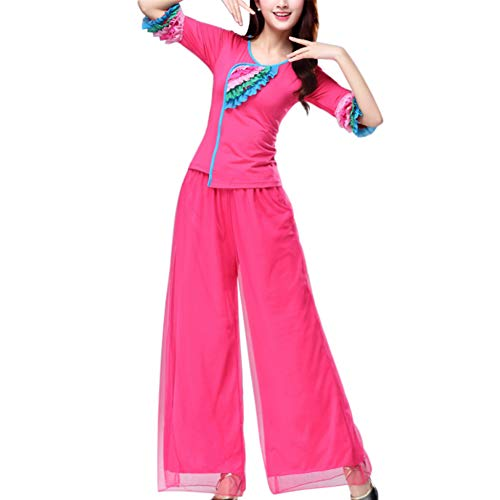 Yudesun Damen Tanzsport Bekleidung - Chinesischer Nationaltanz Kostüm Square Dance Netzrock Weite Hosen Performance Atmungsaktiv