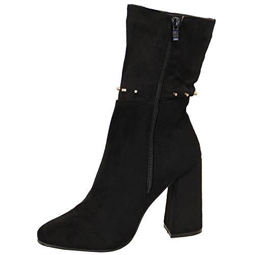 donna tacco spesso Scarponcini Chelsea Donna Camoscio LOOK caviglia BORCHIATO Scarpe ZIP INVERNO Nero - my670
