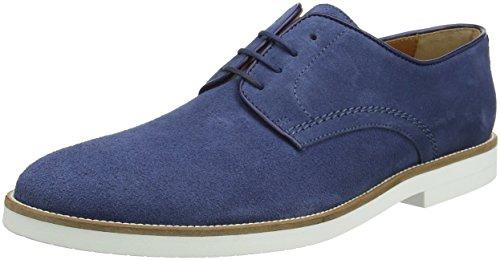 Hackett Piped Paterson Suede, Zapatos Derby Para Hombre, Azul, 7.5 UK/41 EU