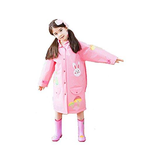 TRIWONDER Regenmantel Regen Cape Poncho für Kinder Mädchen Jungen Poncho Jacke Gear mit Rucksack Position Mädchen (S (4-7 Jahre alt), Rosa)