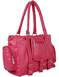 purses for women branded leather by EDGEKART | Stylish shinning PU Leather Handbag For Women and Girls - Pink