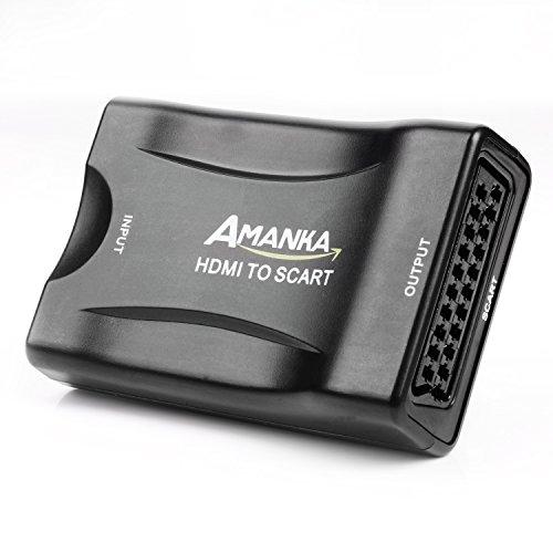 AMANKA HDMI a SCART Convertidor de Euroconector HD Vídeo Compuesto Adaptador de Audio Estéreo para Sky HD BLU Ray DVD TV PS3