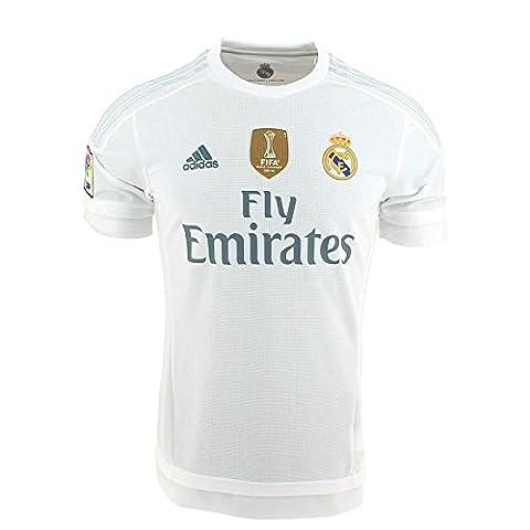 Adidas FC Real Madrid domicile 2015/2016-shirt avec l'insigne de Champion du monde pour homme S blanc
